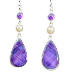 Natural multi color fluorite amethyst 925 silver dangle earrings m48752