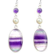 Natural multi color fluorite amethyst 925 silver dangle earrings m48753