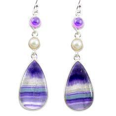 925 silver natural multi color fluorite amethyst pearl dangle earrings m48754