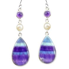 Natural multi color fluorite amethyst 925 silver dangle earrings m48755