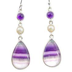 Natural multi color fluorite amethyst 925 silver dangle earrings m48756