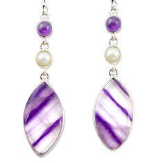 Natural multi color fluorite amethyst 925 silver dangle earrings m48757