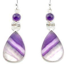 925 silver natural multi color fluorite amethyst dangle earrings m48758