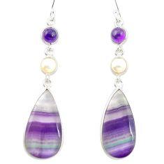 Natural multi color fluorite amethyst 925 silver dangle earrings m48759