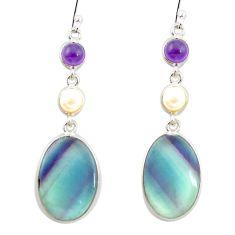 Natural multi color fluorite amethyst 925 silver dangle earrings m48760