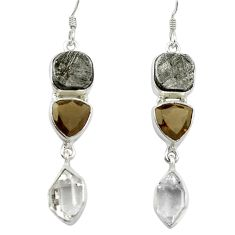 Natural grey meteorite gibeon 925 sterling silver earrings jewelry m49159