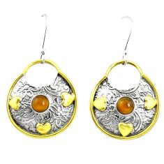 Victorian natural brown tiger's eye 925 silver two tone dangle earrings m49512