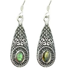 Natural blue labradorite 925 sterling silver dangle earrings m51437
