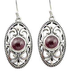 Natural red garnet 925 sterling silver dangle earrings jewelry m51568