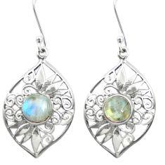 Natural rainbow moonstone 925 sterling silver dangle earrings m51951