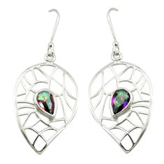 Multi color rainbow topaz 925 sterling silver dangle earrings m52068