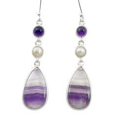 925 silver natural multi color fluorite amethyst earrings jewelry m53500