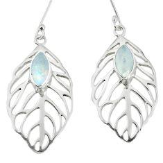Natural rainbow moonstone 925 sterling silver dangle earrings m54362