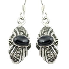 Natural black onyx 925 sterling silver dangle earrings jewelry m54748