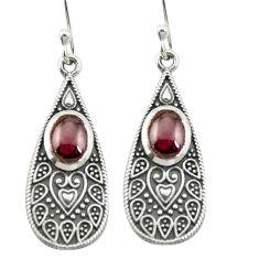 Natural red garnet 925 sterling silver dangle earrings jewelry m54750