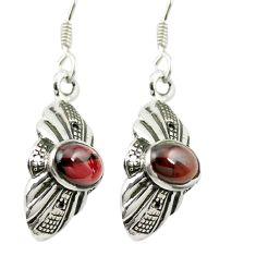 Natural red garnet 925 sterling silver dangle earrings jewelry m54771