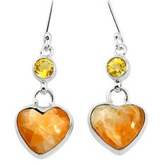 Natural yellow calcite citrine 925 silver dangle earrings jewelry m60326