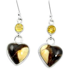 Natural brown peanut petrified wood fossil 925 silver dangle earrings m60332