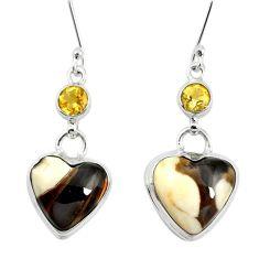 Natural brown peanut petrified wood fossil 925 silver dangle earrings m60335