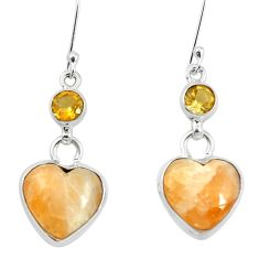 925 silver natural yellow calcite citrine dangle earrings jewelry m60344