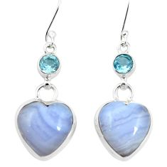 925 silver natural blue lace agate topaz dangle earrings jewelry m60354