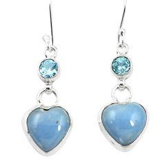 Natural blue angelite topaz 925 sterling silver dangle earrings m60355