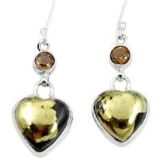 Natural pyrite in magnetite (healer's gold) 925 silver dangle earrings m60359