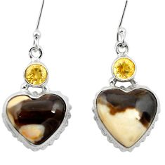 925 silver natural brown peanut petrified wood fossil heart earrings m61504