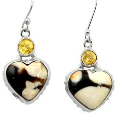 Natural brown peanut petrified wood fossil 925 silver heart earrings m61505
