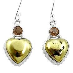 Natural golden pyrite in magnetite (healer's gold) 925 silver earrings m61511