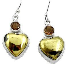 Natural golden pyrite in magnetite (healer's gold) 925 silver earrings m61512