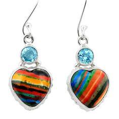 925 silver natural multi color rainbow calsilica dangle heart earrings m61513