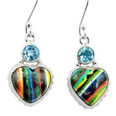 Natural multi color rainbow calsilica 925 silver dangle heart earrings m61514