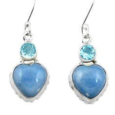 Natural blue angelite topaz 925 sterling silver dangle heart earrings m61516