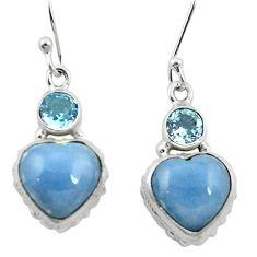 Natural blue angelite topaz 925 sterling silver dangle heart earrings m61521