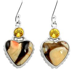 Natural brown peanut petrified wood fossil 925 silver heart earrings m61531