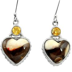 925 silver natural brown peanut petrified wood fossil heart earrings m61532
