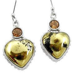Natural golden pyrite in magnetite (healer's gold) 925 silver earrings m61533