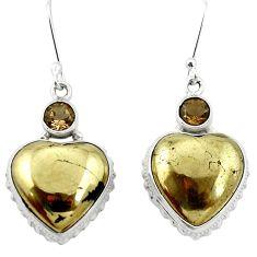 925 silver natural golden pyrite in magnetite (healer's gold) earrings m61534
