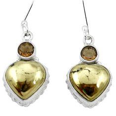 Natural golden pyrite in magnetite (healer's gold) 925 silver earrings m61535
