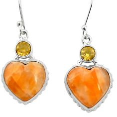 925 silver natural orange calcite citrine dangle heart earrings m61540