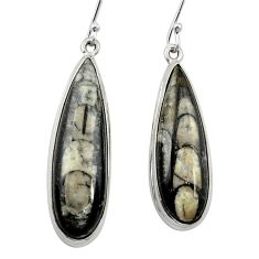 Natural black orthoceras 925 sterling silver dangle earrings m61778