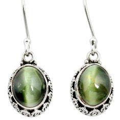 Green cats eye 925 sterling silver dangle earrings jewelry m62887
