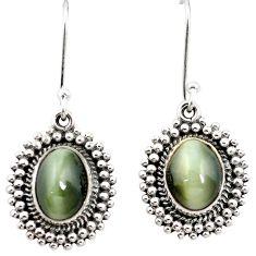 Green cats eye 925 sterling silver dangle earrings jewelry m62890