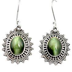 Green cats eye 925 sterling silver dangle earrings jewelry m62892