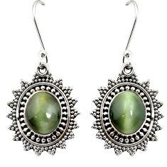 Green cats eye 925 sterling silver dangle earrings jewelry m62895