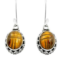 Natural brown tiger's eye 925 sterling silver dangle earrings jewelry m62901
