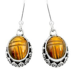 925 sterling silver natural brown tiger's eye dangle earrings jewelry m62904