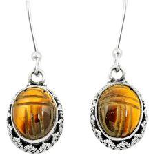 Natural brown tiger's eye 925 sterling silver dangle earrings m62905