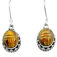 Natural brown tiger's eye 925 sterling silver dangle earrings m62906